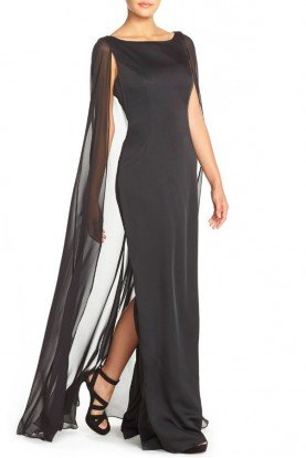 Satin Column Gown with Chiffon Cape Black Dress