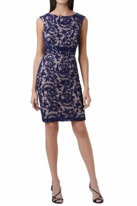Lace Overlay Sheath Dress Navy Blue Nude Cocktail