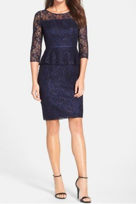 Peplum Lace Sheath Dress in Navy Work Day Cocktail