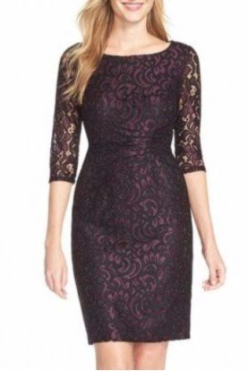 Adrianna Papell Shirred Burgundy Lace Sheath Dress