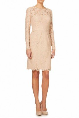 Long sleeve all over lace dress in BLUSH
