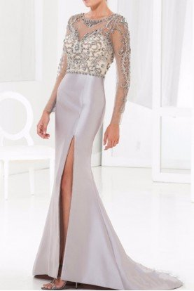M3845 Beaded Illusion Evening Gown Mother of Bride