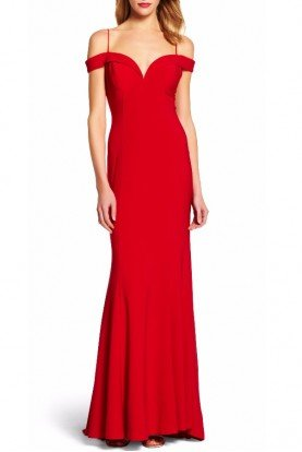 Adrianna Papell Red Off Shoulder Jersey Mermaid Gown