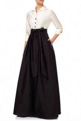 Women's Black Ivory Blouse Hi Low Taffeta Gown