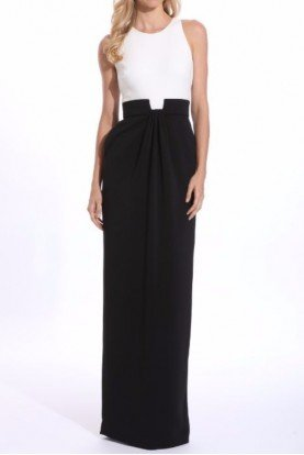 Badgley Mischka Two-Tone Colorblock Column Gown Black Ivory