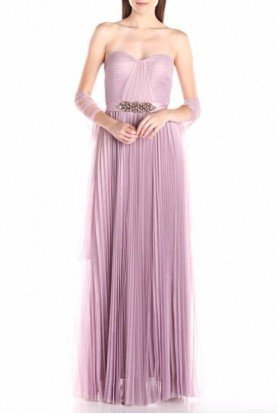 Light Heather Strapless Tulle Long Gown