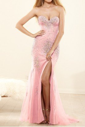 P3161 Pink Crystal Mermaid Dress Ball Gown Prom