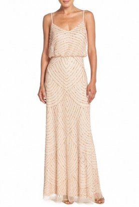 Adrianna Papell Beaded Art Deco Blouson Gown in Champagne Gold