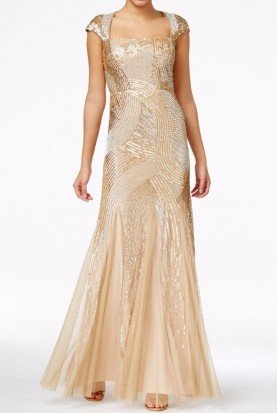 Gold Sequin Metallic Beaded Cap Sleeve Ball Gown