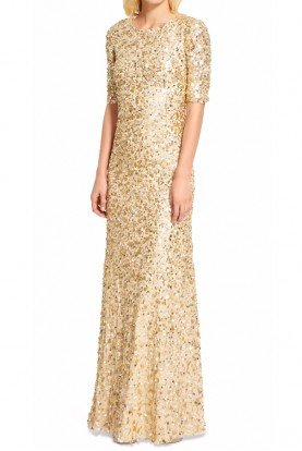 Adrianna Papell Three Quarter Sleeve Sequin Gown Rose Gold Dress