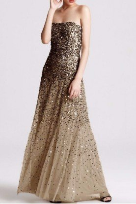 Sequined Strapless Mesh Gown Gold