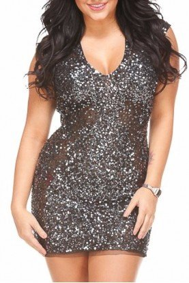 Primavera Couture Shimmery Gunmetal Silver Sequin Short Dress