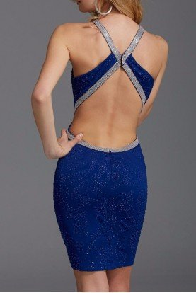 352 Blue Beaded Cutout Cocktail Dress Open Back