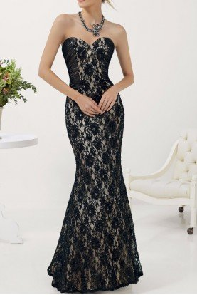 71139 Beaded Black Lace Mermaid Strapless Gown