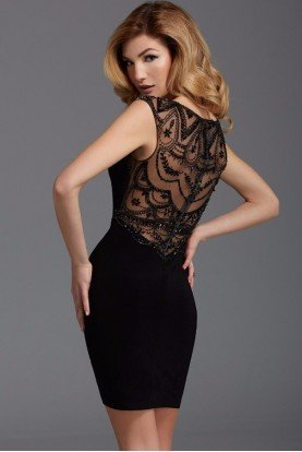 Black Beaded Cap Sleeve Cocktail Dress 2902