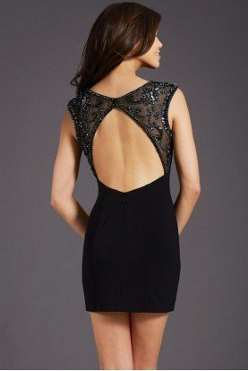 2695 Black Beaded Sweetheart Cutout Dress