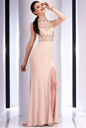2823 Blush Beaded Belle Evening Gown