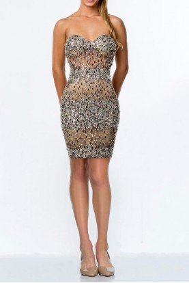 Terani  Strapless sparkly beaded cocktail dress 1521H1030