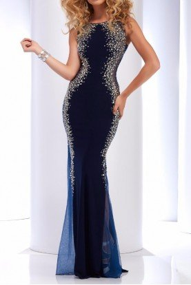 2627 Black Sheer Mermaid Gown Dress with Open Back