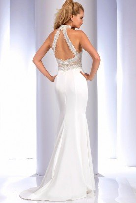 4733 White Halter Beaded Gown Evening Dress