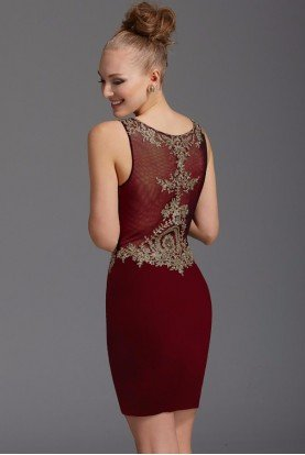 2908 Burgundy Red Beaded Lace Cocktail Dress