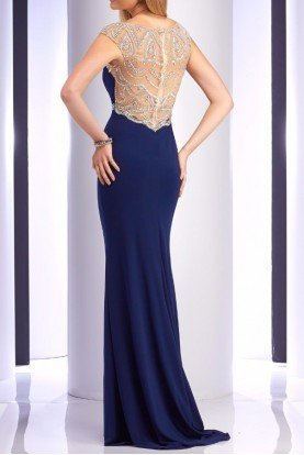 2729 Navy Crystal Cap Sleeve Dress