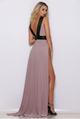 Abyss Rome Slinky Cutout Gown Dress in Taupe and Black