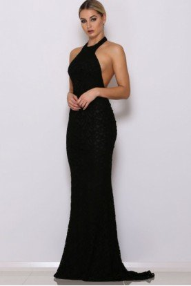 Ryan Black Lace Open Back Halter Gown