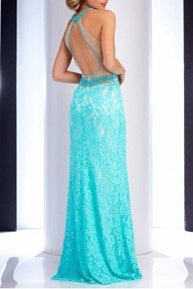 4736 Seafoam Beaded Lace Gown