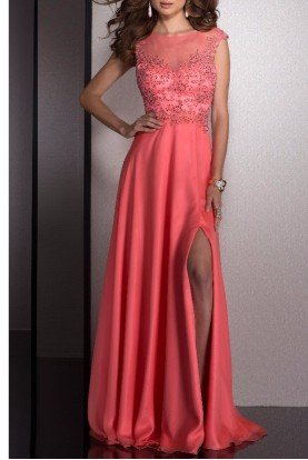 2532 Sparkling Applique Coral Evening Gown Dress