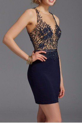 2941 Navy Applique Illusion Cocktail Dress