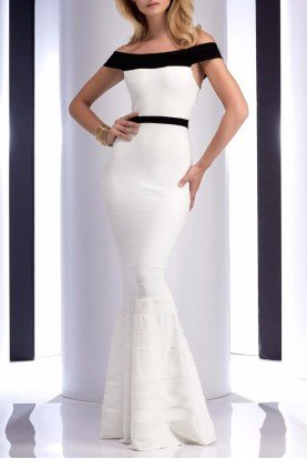 4709 Off shoulder White Mermaid Bandage Gown Dress