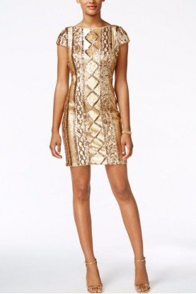 Adrianna Papell Sequin Sheath Gold Cable Knit Cocktail Dress