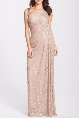 Adrianna Papell Foiled Dot Asymmetrical Mesh Dress in Blush