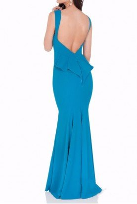 1622E1542 Open Back Peacock Blue Evening Gown