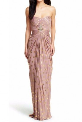 Blush Gold Foiled Dot Draped Mesh Gown in Blush