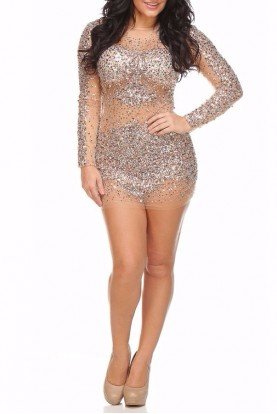 Jovani Sparkly Sheer Pia Dress 7757