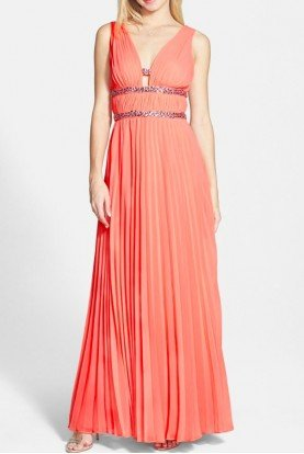 Embellished Pleated Coral Chiffon Gown Dress