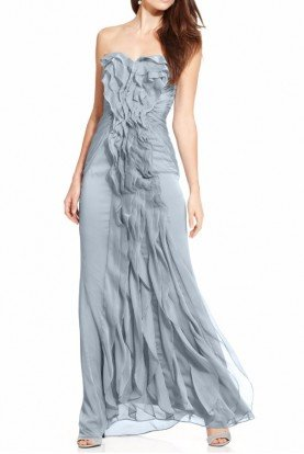 Slate Blue Ruffled Chiffon Gown Bridesmaid Dress