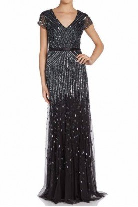 Adrianna Papell Cap Sleeve Beaded Sequined Black Gown Plus Dress
