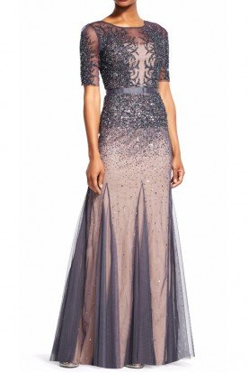 Adrianna Papell Beaded Godet Gown Sheer Embellished Sleeves Bodice
