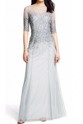 Sequin beaded illusion quarter sleeve gown Mist
