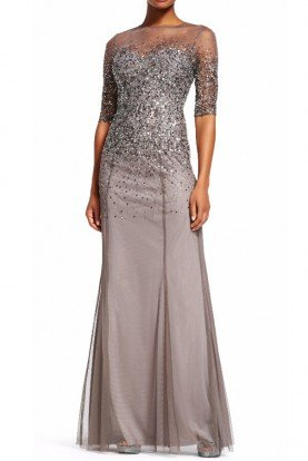 Sequin Beaded illusion gown in Lead with Sleeves