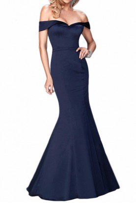 22149  Navy Off Shoulder Mermaid Gown Dress