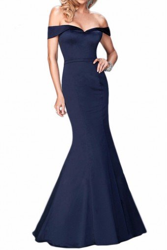 La Femme 22149  Navy Off Shoulder Mermaid Gown Dress