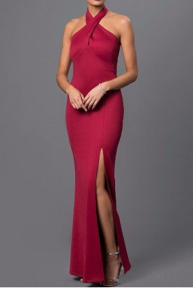 Maroon Halter Gown  with High Slit Burgundy dress