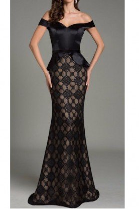 Elegant Diamond Black Off Shoulder Gown