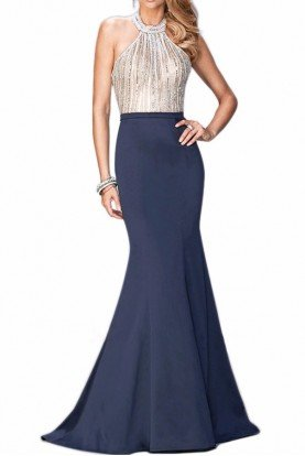 La Femme 22177 Navy Blue Mermaid Gown Crystal Halter Dress