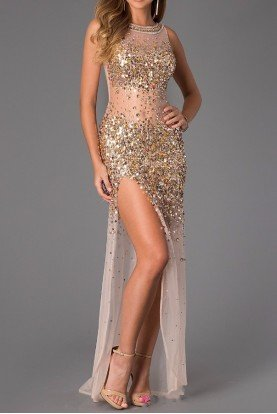 21738 Sheer Gold Sequin Beaded Gown Prom Dress