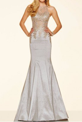 98035 Silver Beaded Embroidered Mermaid Dress Gown